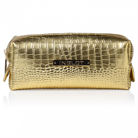Cosmetic Bag Crocodile Leather Pattern Gold Small (R24393)