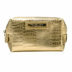 Cosmetic Bag Crocodile Leather pattern Gold (R24245B)